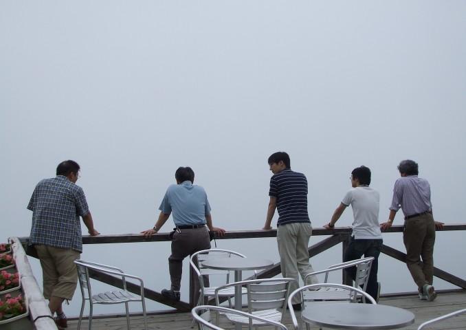 八海山、ロープウェイで上がったものの・・・。心の眼で景色を楽しみましょう。