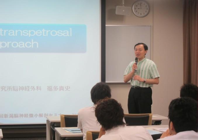 藤井教授の挨拶。実習に対する決意表明。
